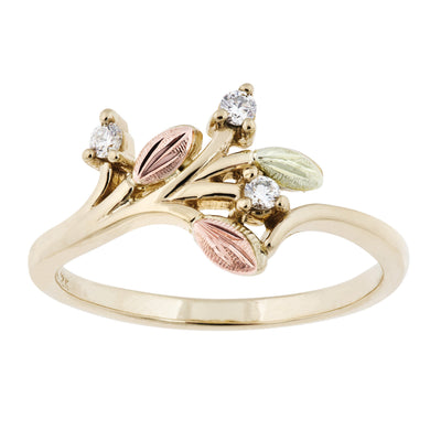 Sprouting Diamonds Black Hills Gold Ring