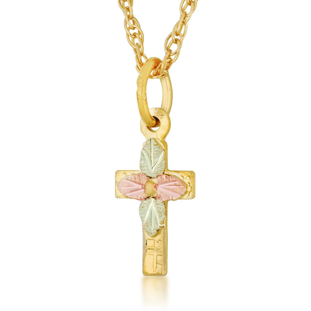 Black Hills Gold Four Leaf Cross Pendant & Necklace