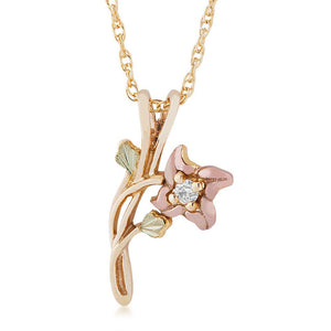 Black Hills Gold Diamond & Rose Pendant & Necklace - Jewelry
