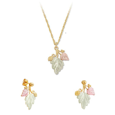 Black Hills Gold Foliage Grapes Earrings & Pendant Set II