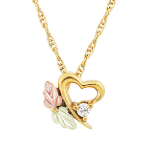 Sparkling Diamond Heart Black Hills Gold Pendant & Necklace - Fortune And Glory - Made in USA Gifts