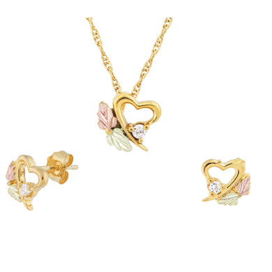 Sparkling Diamond Heart Black Hills Gold Pendant & Earrings Set - Jewelry