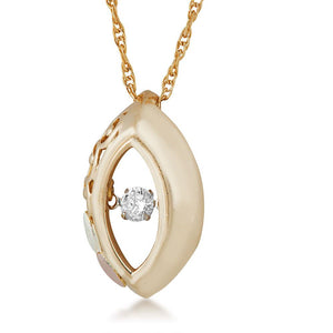 Black Hills Gold Oval Diamond Pendant & Necklace - Fortune And Glory - Made in USA Gifts