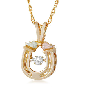 Black Hills Gold Horseshoe Diamond Pendant & Necklace - Fortune And Glory - Made in USA Gifts