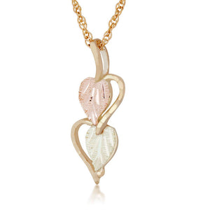 Black Hills Gold 2 Leaves in Hearts Pendant & Necklace