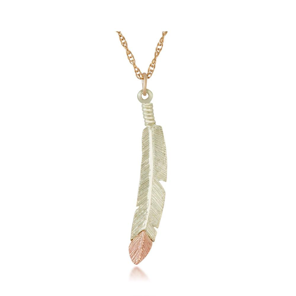 Black Hills Gold Feather Pendant & Necklace