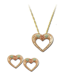 Black Hills Gold Rose Heart Earrings & Pendant Set