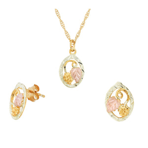 Colorful Oval Black Hills Gold Pendant & Earrings Set - Jewelry