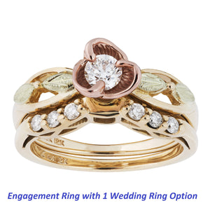 Diamond Rose Black Hills Gold Engagement / Wedding Ring Set - Jewelry