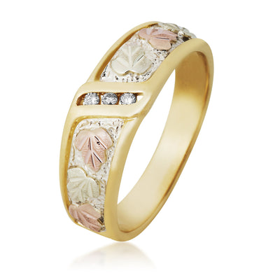 Black Hills Gold Elegant Three Diamonds Ring - Jewelry