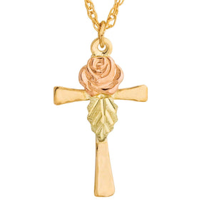 Rose on Cross Pendant & Necklace - Black Hills Gold - Fortune And Glory - Made in USA Gifts