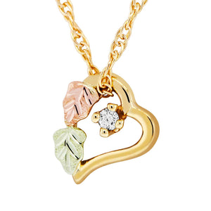 Heart & Diamond Pendant & Necklace - Black Hills Gold - Jewelry