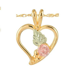 Black Hills Gold Heart Rose Leaves Pendant & Necklace - Fortune And Glory - Made in USA Gifts