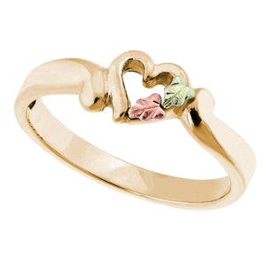 Petite Heart & Leaves Black Hills Gold Ring - Jewelry