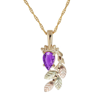 Black Hills Gold Pear Cut Amethyst Pendant & Necklace - Fortune And Glory - Made in USA Gifts