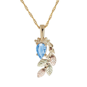 Black Hills Gold Pear Cut Blue Topaz Pendant & Necklace - Jewelry