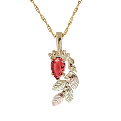 Black Hills Gold Pear Cut Garnet Pendant & Necklace - Jewelry