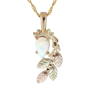 Black Hills Gold Opal with Leaves Pendant & Necklace - Fortune And Glory - Made in USA Gifts