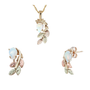 Black Hills Gold Foliage Opals Earrings & Pendant Set