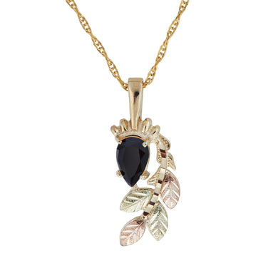 Black Hills Gold Pear Cut Onyx Pendant & Necklace - Jewelry
