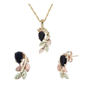 Black Hills Gold Pear Cut Onyx Earrings & Pendant Set