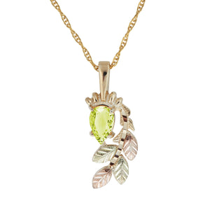 Black Hills Gold Pear Cut Peridot Pendant & Necklace - Fortune And Glory - Made in USA Gifts