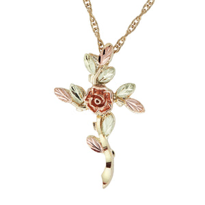 Rose Design Black Hills Gold Cross Pendant & Necklace - Jewelry