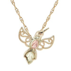 Uplifting Hummingbird Pendant & Necklace - Black Hills Gold - Jewelry