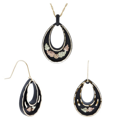 Black Hills Gold Droplet Design Earrings & Pendant Set