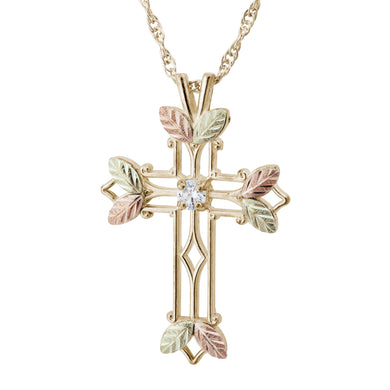 Diamond Black Hills Gold Cross Pendant & Necklace
