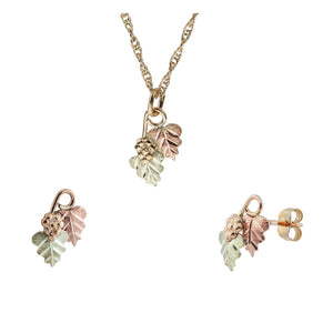 Black Hills Gold Traditional Foliage Earrings & Pendant Set