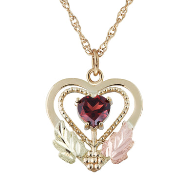 Black Hills Gold Garnet in Heart Pendant & Necklace - Jewelry