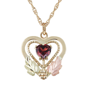 Black Hills Gold Garnet in Heart Pendant & Necklace - Fortune And Glory - Made in USA Gifts