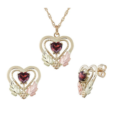 Black Hills Gold Garnet Heart Earrings & Pendant Set