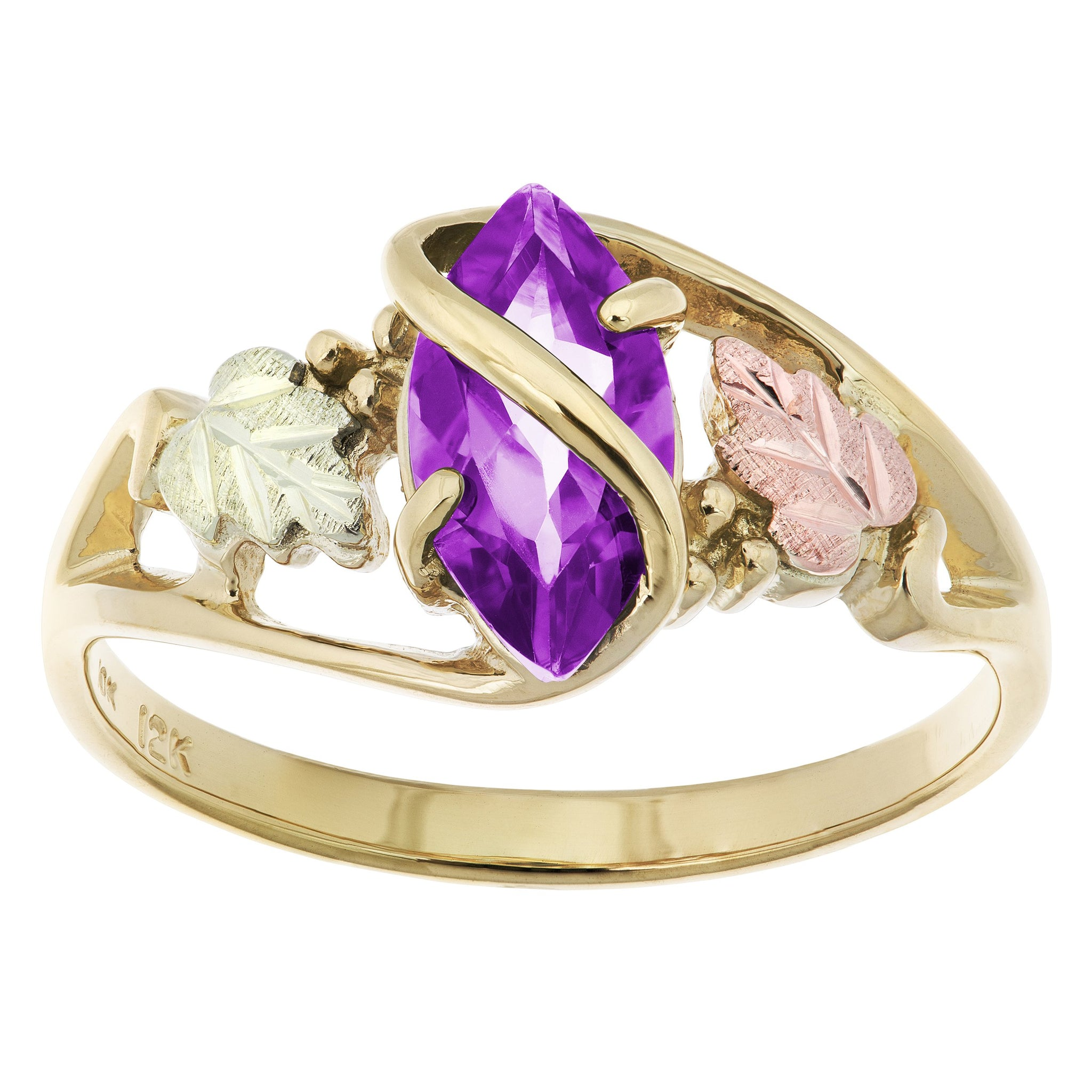 Sterling Silver Amethyst and Diamond Double Hearts Ring in Black Hills Gold