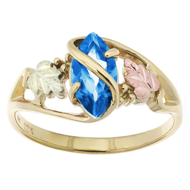Black Hills Gold Blue Topaz Ring - Jewelry