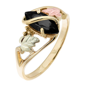 Marquise Cut Onyx Black Hills Gold Ring - Fortune And Glory - Made in USA Gifts
