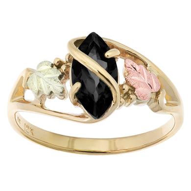 Marquise Cut Onyx Black Hills Gold Ring - Jewelry