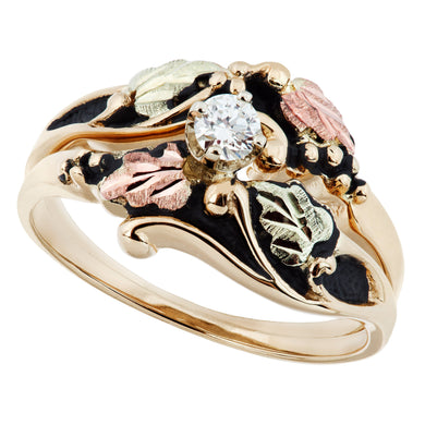 Antiqued Diamond Black Hills Gold Ring - Fortune And Glory - Made in USA Gifts