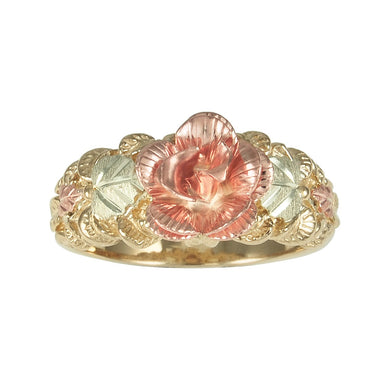 Intricate Rose Black Hills Gold Ring - Jewelry