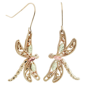 Dragonflies Black Hills Gold Earrings - Fortune And Glory - Made in USA Gifts