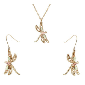 Black Hills Gold Dragonflies Earrings & Pendant Set