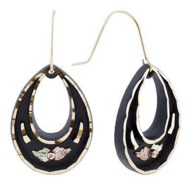 Black Teardops Black Hills Gold Earrings - Jewelry