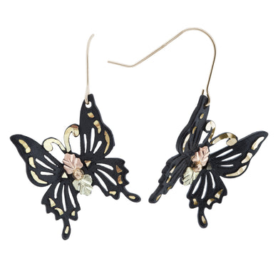 Black Hills Gold Powder Butterfly Earrings - Fortune And Glory - Made in USA Gifts