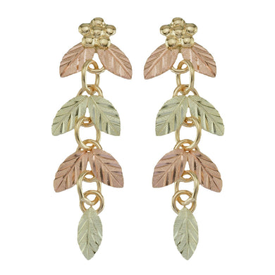 Chain of Leaves Black Hills Gold Earrings - Jewelry