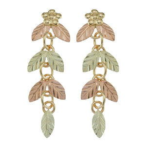 Chain of Leaves Black Hills Gold Earrings - Fortune And Glory - Made in USA Gifts