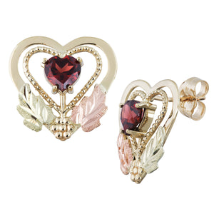 Garnet Hearts Black Hills Gold Earrings - Jewelry