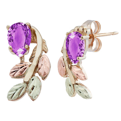 Black Hills Gold Pear Cut Amethyst Earrings - Fortune And Glory - Made in USA Gifts
