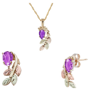 Black Hills Gold Pear Cut Amethyst Earrings & Pendant Set