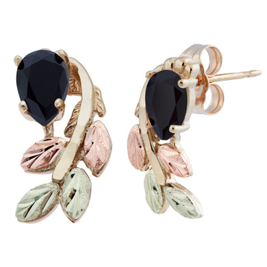 Black Hills Gold Pear Cut Onyx Earrings - Fortune And Glory - Made in USA Gifts